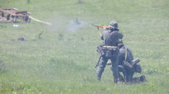 Two Nazi soldiers in smoke of attack Stock Footage