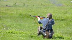 Nazi soldier shooting from  carbine Stock Footage