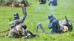 Nazi soldiers shooting  mortar - stock footage