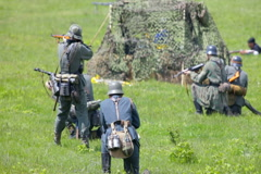 group of Nazi soldier shooting in battle - stock footage