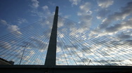 Stock Video Footage of zakim bridge sunset