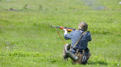 Nazi soldier shooting from  carbine - stock footage