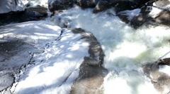 Close up of water rushing through rocks Stock Footage