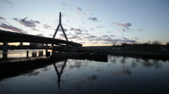 Zakim bridge reflection at sunset Stock Footage