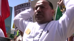 Energetic protester - Immigration march and rally Stock Footage
