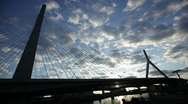 Stock Video Footage of zakim bridge at sunset with time lapse clouds