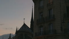 Notre Damn roof next to hotel Stock Footage