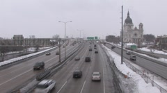 Slippery Highway and Basilica St Mary Church in Minneapolis ( HD ) Stock Footage