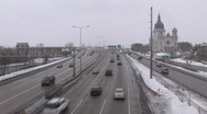 Stock Video Footage of Slippery Highway and Basilica St Mary Church in Minneapolis ( HD )