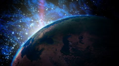 Planet Earth with Sunrise in the Universe. Stock Footage