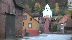 Germany village with church and cars Stock Footage