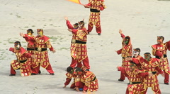 Dancers at the Jiayuguan Great Wall Fort - 3 Stock Footage