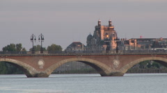 The waterfront of Bordeaux, France at sunset Stock Footage