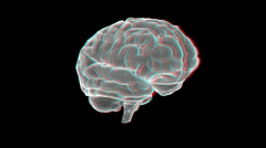 Brain xray - anaglyph Stock Footage