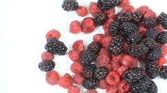 Blackberries Raspberries Blueberries Stock Footage