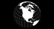 Spinning black and white 3D Earth silhouette from the Arctic loop in HD Stock Footage