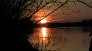 Sunset over the river Stock Footage