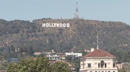 Hollywood Sign From a Rooftop Handheld ( HD ) Stock Footage