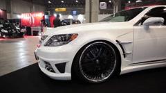 White Car Customized Tokyo Auto Salon Stock Footage