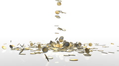 EUR coins falling on white reflective floor, camera rotation, Alpha Stock Footage