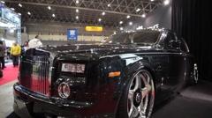 Nice Shot of Black Rolls Royce Phantom at custom Car Show Stock Footage