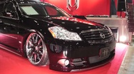 Stock Video Footage of Customized Black Sedan @ Tokyo Auto Salon