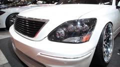 Low sitting custom lexus toyota car at Car Show Stock Footage
