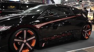 Stock Video Footage of Custom Black Honda Terra at Car Show