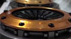 Close Up tilt shot of custom car parts at Car Show Stock Footage
