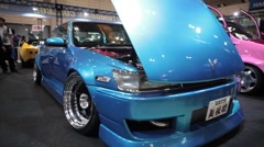 Nice shot showing custom Cars at Car show in Tokyo Stock Footage