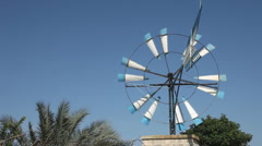 Traditional windmill water pump in Mallorca Stock Footage
