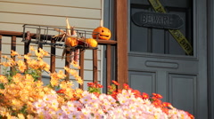 Halloween front porch and door decorations - stock footage