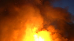 House Fire Billowing Smoke & Flame Stock Footage