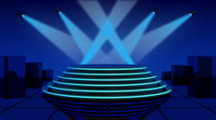 Neon podium with searchlights - stock footage