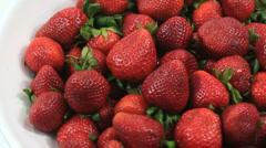 Organic Strawberries Close Up Stock Footage