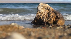 Water and Tide Lapping against the Shore in Lake Mohave Stock Footage