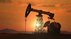 Oil pump sunset pan Stock Footage