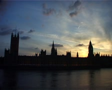 Houses of Parliament at Sunset, London England GFSD Stock Footage