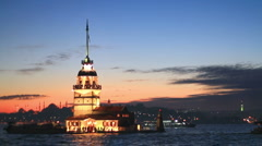 Historical Leanders Tower in Istanbul Stock Footage