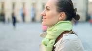 Portrait of attractive smiling woman in the city, steadicam shot Stock Footage