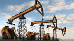 Three oil pumps static Stock Footage
