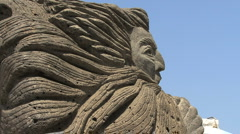 Vulcano god of winds statue Stock Footage