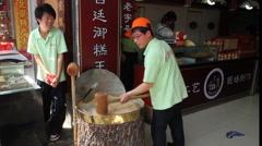 Wangfujing Snack Street Nut Brittle preparation Stock Footage