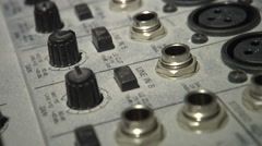 1/4 inch PA Sound Board Audio Mixer Extreme Close up - Dolly Shot 1080P Stock Footage