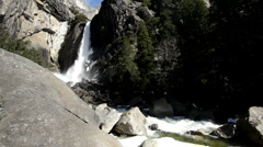 Stream of lower falls at Yosemite national park Stock Footage