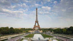 Time Lapse of clouds passing over the Eiffel Tower in Paris, France - stock footage