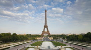 Time Lapse of clouds passing over the Eiffel Tower in Paris, France Stock Footage