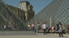Photography next to The Louvre in Paris Stock Footage