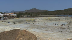Vulcano mud bath pan Stock Footage
