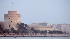 Fortress on the seafront in Greece Stock Footage